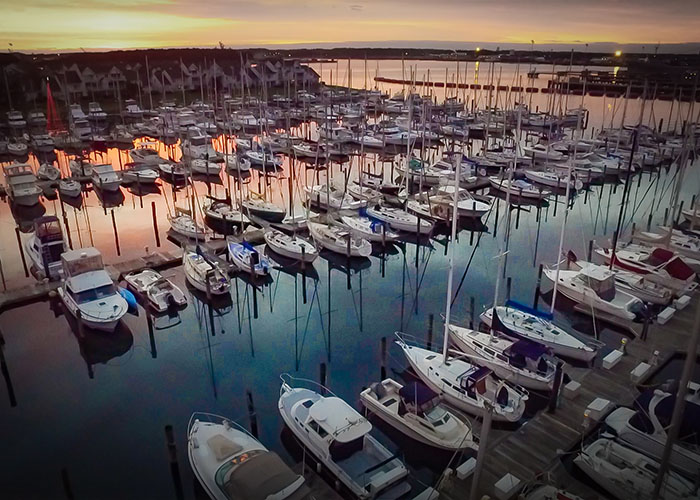 2015 Drone Aerials of Boats in a Harbor