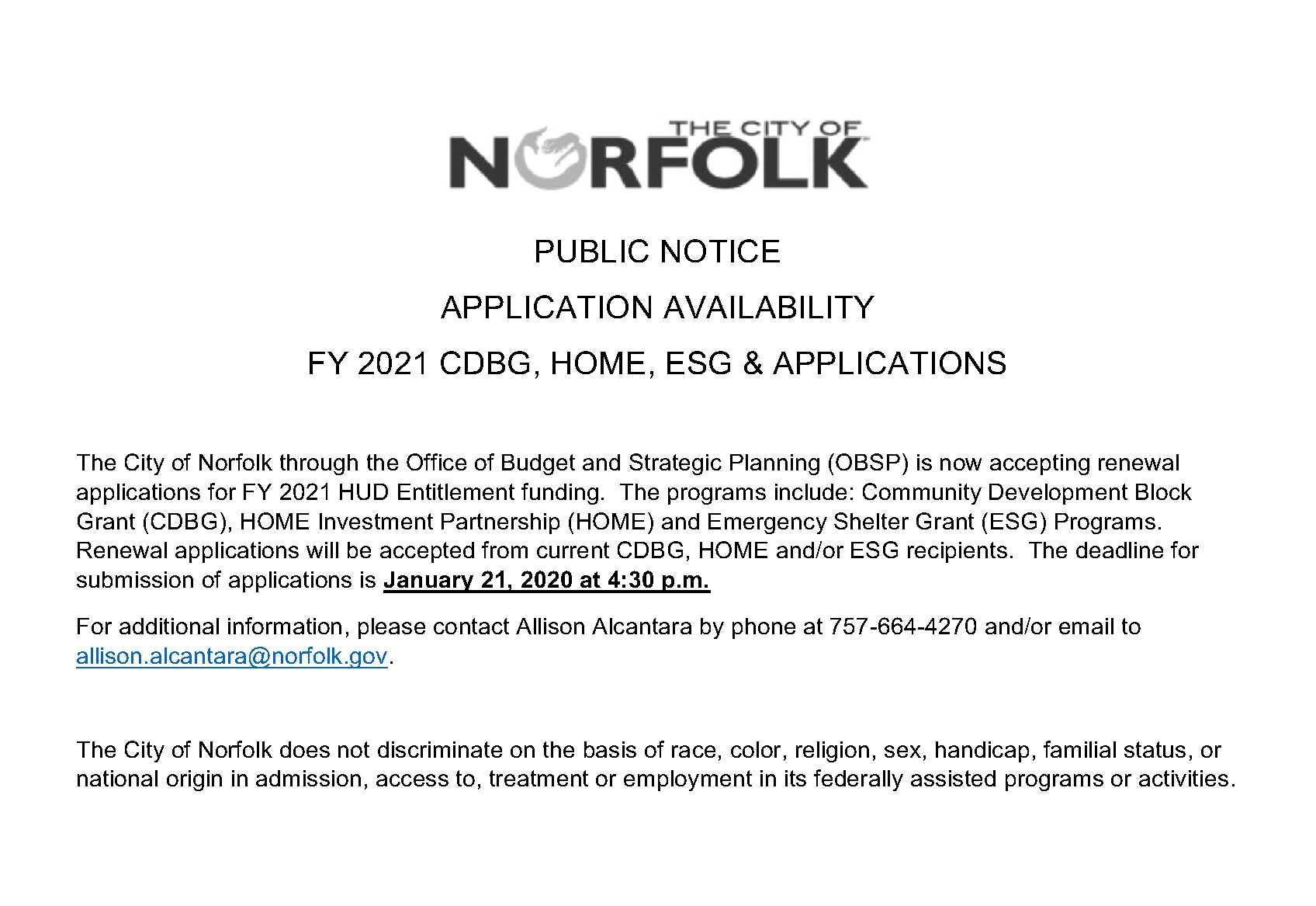 Public Notice - FY 2021 Application Availability