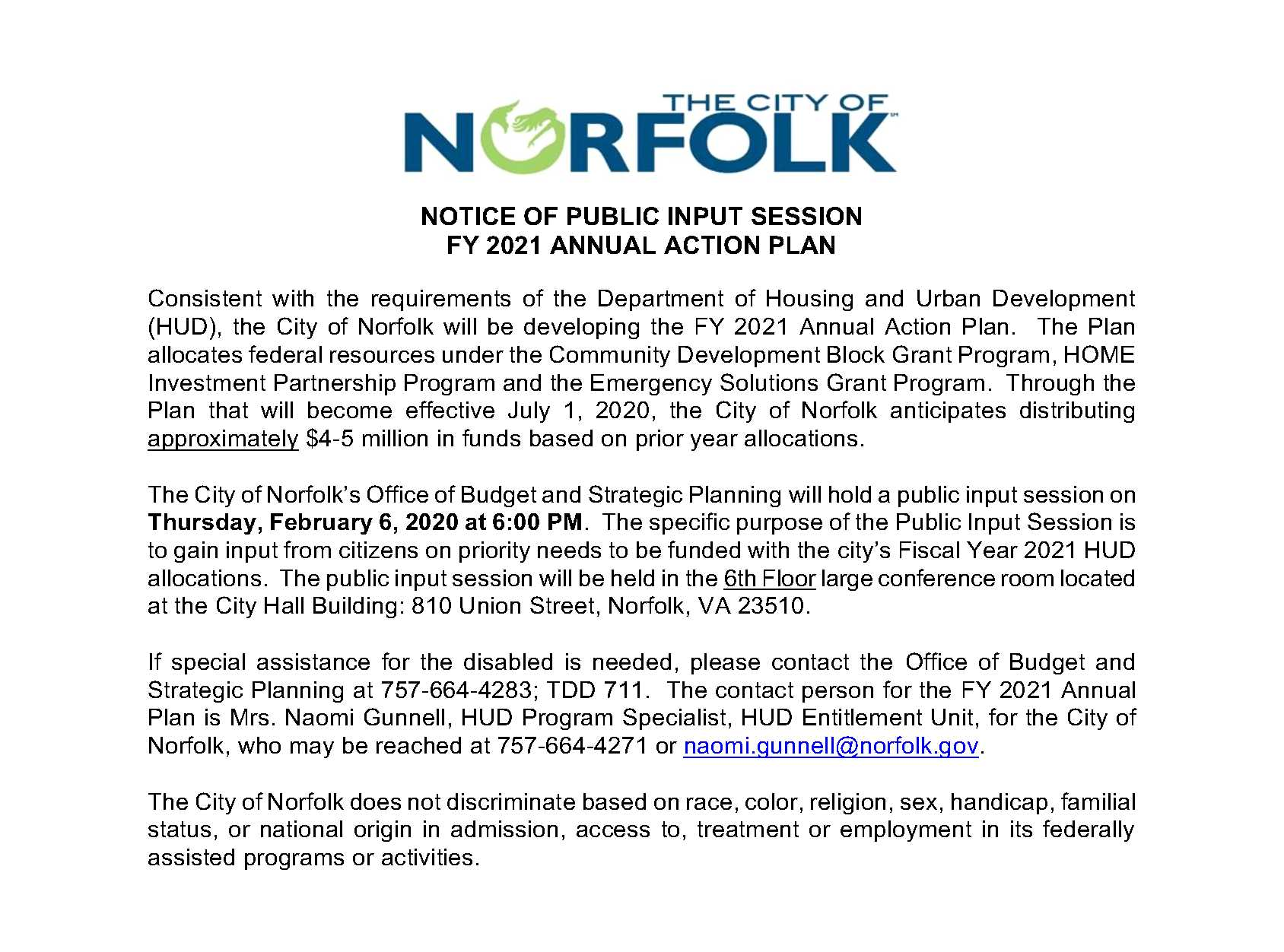 Public Notice-1st Public Input Session Notice FY 2021