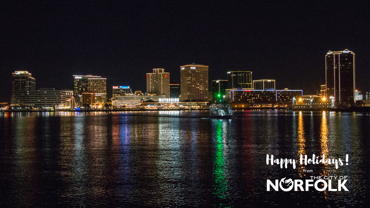 Happy Holidays! Norfolk Night Skyline Zoom Background Opens in new window